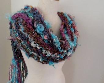 sale Scarf  Hand Spun Hand Knit Scarf merino silk mohair locks turquoise purple by plumfish