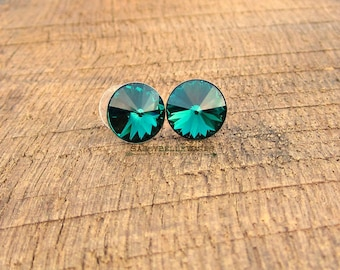 Swarovski Crystal Earrings emerald green stud post simple glam glamorous sparkly classic bridesmaid bridal bride wedding sparkle earstuds