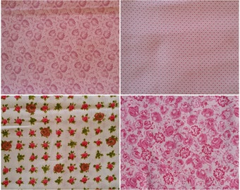 PK026 ~ Pink fabric Mauve fabric Tiny print Pink roses Rose covered Quilting fabric 4 piece set