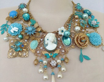 Extra large cameo statement necklace