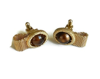 Vintage Swank Brown Moonglow Glass and Gold Tone Metal Fold Over Cuff Links
