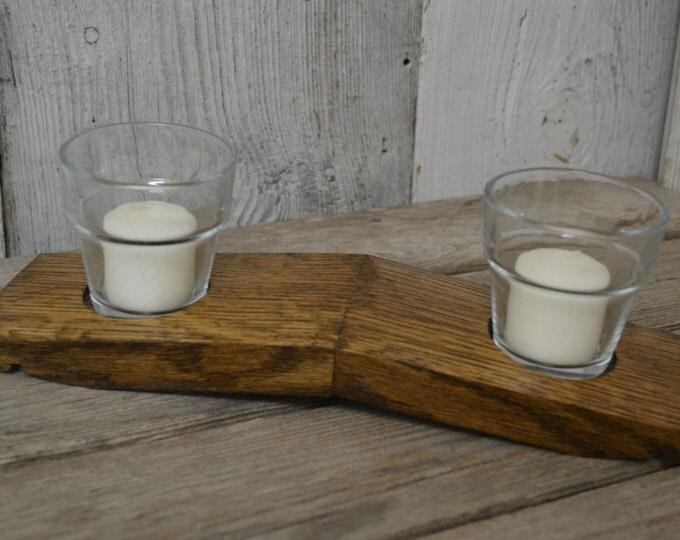 Votive Candle Holder, Wine Barrel Stave Decor Holds 2 Candles, Aged Oak, Dark Walnut Stain, Displays Two Illuminations