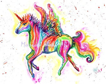Unicorn art, Unicorn print, Rainbow unicorn, Pegasus print, rainbow animal, art by Marias Ideas art