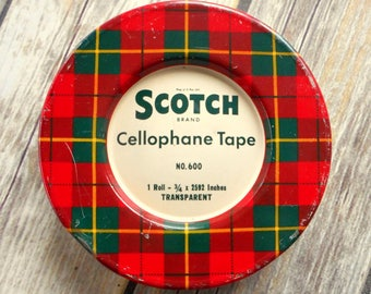 Red Green Plaid Vintage Scotch Tape Tin Yellow St Paul Minnesota Log Cabin Rustic