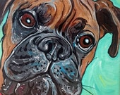 5x5 Custom Dog Painting Pet Portrait Dog Art