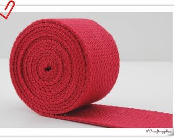 1.25 inch (32mm) Heavy weight Polyester Cotton webbing strap 5 yards Red