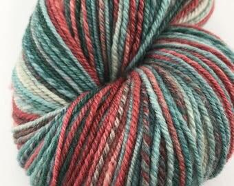 "Handspun Yarn ""Noel"" Fingering Merino Silk 340 yds."