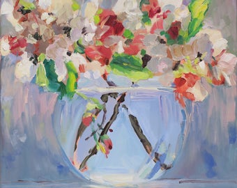 Whisper of Spring - oil painting South Carolina artist Linda Hunt - glass vase - apple blossoms - floral white pink flowers - 12 inch square