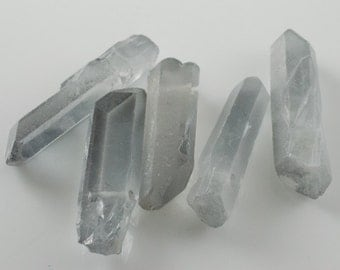 Blue gray Fumed Quartz Prism Nuggets Daggers Spike Stick Beads