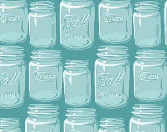 Turquoise Mason Jar Fabric - Mason Jars By Robinpickens - Vintage Retro Kitchen Glass Cotton Fabric By The Yard With Spoonflower