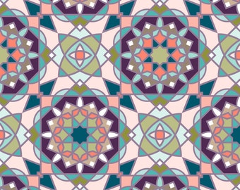 Moroccan Tile Fabric - Arabic Flavour By Alexiazotos - Geometric Moroccan Cotton Fabric By The Yard With Spoonflower