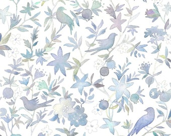 Watercolor Floral Birds Fabric -Forest Garden By Forestsea- Sweet Nursery Baby Blue Wedding FloralCotton Fabric By The Yard With Spoonflower