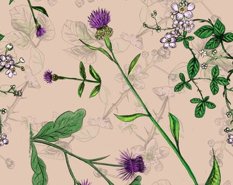 Vintage Floral Fabric - If Ever So Gently I Could Hold Your Head By Seesawboomerang - Thistle Cotton Fabric By The Yard With Spoonflower
