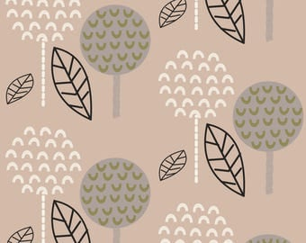 Neutral Topiary Fabric - Tip Top Topiary By Joheadington - Retro Forest Modern Home Decor Cotton Fabric By The Yard With Spoonflower