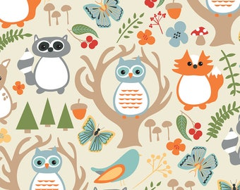 Woodland Whimsy Fabric - Woodland Whimsy By Jenniferlabre - Woodland Animals Nursery Decor Cotton Fabric By The Yard With Spoonflower