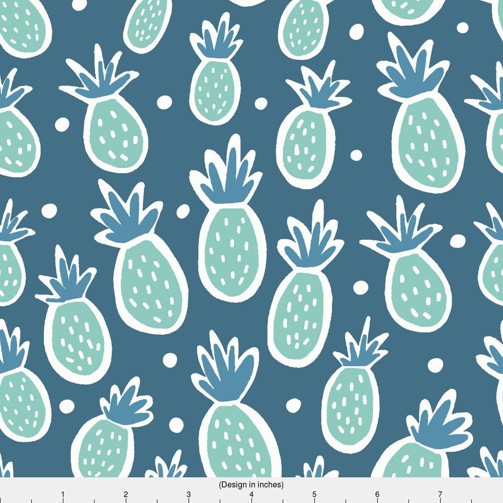 Blue Pineapple Hawaiian Fabric Blue Hawaiian By Ellolovey