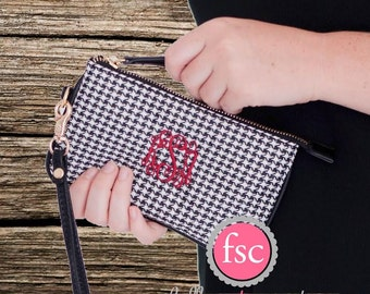 HOUNDSTOOTH Wristlet , Monogrammed Wrislet, Personalized Wallet, bridesmaid gift , monogrammed gifts, christmas gift, personalized gift