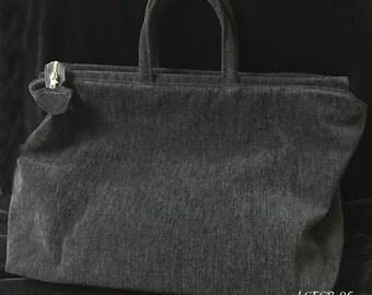 Solid Black Chenille CarpetBag