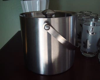 Heavy Stainless Steel Ice Bucket, Brushed Stainless Steel, 1980s, Handled, Brushed Nickle Look, Fold Down Handle, Silver Finish