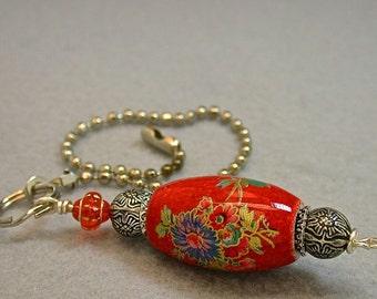 Vintage Japanese Tensha RED Fan Pull Blue Flowers, Vintage Ornate Silver Plated Bead,Vintage Orange Glass Bead