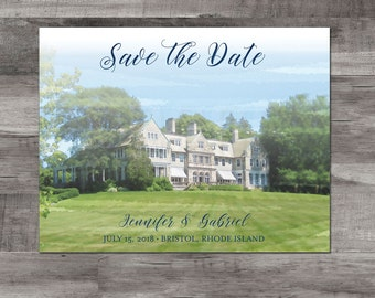 Bristol Rhode Island save the date - Blithewold Mansion Save the Date - Rhode Island Map save the date