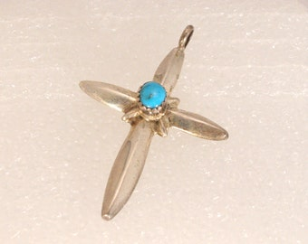 Vintage Turquoise Silver Cross Pendant Sterling Charm Religious Spiritual Necklace