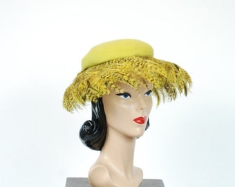 2 DAY SALE - Vintage 1930s Hat - Spring 2017 Lookbook - The Osprey Hat - Lilly Dache Chartruese Green Wide Brim Hat with Bright Pheasant Fea