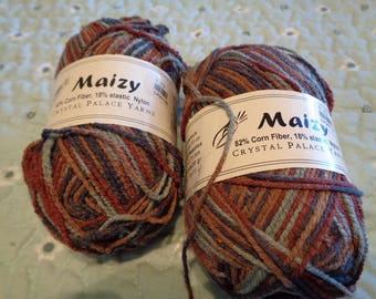 2 Bullet Corn Fiber Skeins of Maizy Yarn From Crystal Palace Yarns