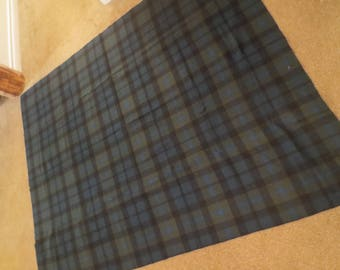 Wool upholstery fabric / wool plaid fabric / ralph lauren upholstery fabric / heavy wool fabric / green blue plaid wool fabric / 72 x 58