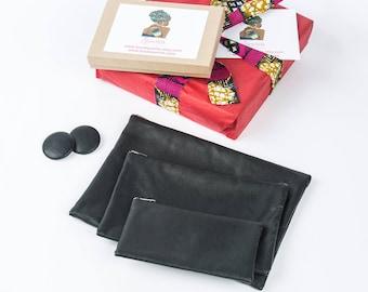 Black zipper pouch, Black leather clutch, Black leather earrings, Minimalist, Black leather purse, Minimalist bag, Leather zipper bag pouch