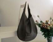 Dark Green Genuine Italian Leather Hobo bag, Over Size, Slouchy, Shoulder bag