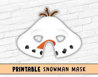 SnowMan Printable Mask | Snow Man Mask | Frosty Mask | Olaf Mask