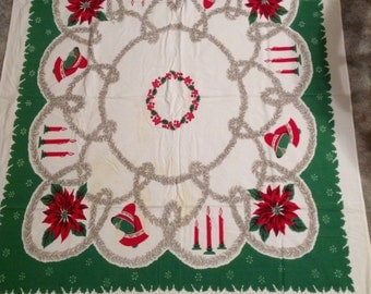 Vintage--Christmas Tablecloth--Garland--Poinsettia--Candles--Bells