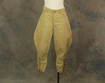 vintage 30s/40s Jophurs - Khaki Cropped Riding Pants WWII US Army Cavalry Uniform Sz 31 32