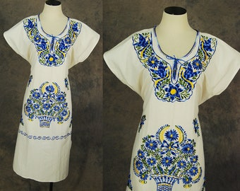 vintage 70s Mexican Peasant Dress - Boho White Embroidered Caftan Dress Sz S M L XL