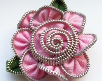 Pink Floral Brooch / Zipper Pin by ZipPinning 3026
