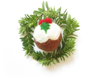 Christmas Pudding,Needle felted ornament,Christmas decoration,Ready to Send