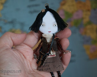 Young Traveler Girl, Art doll brooch, Personalized gift for her