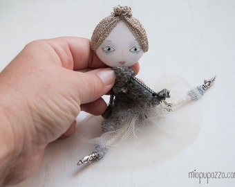Young Grey Ballerina, Art Doll Brooch mixed media collage