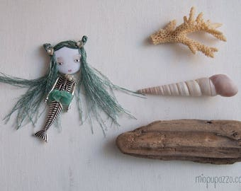 Little Mermaid , Art Doll Brooch, Woodland Fairy Tales