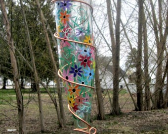 Hummingbird Feeder,  Recycled Clear Wine Bottle, Hand Painted with Colorful Flowers, Bird Feeder, Wrapped in Copper Wire, Garden Decoration