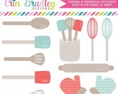 70% OFF SALE Kitchen Clipart Commercial Use Graphics Blue and Red Cooking Utensils Clip Art