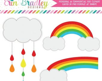 50% OFF SALE Rainbow Clipart, Weather Clipart, Sunshine & Rain Clip Art Graphics, Commercial Use OK