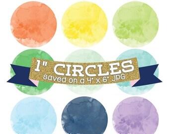 50% OFF SALE Watercolor Circles Digital Bottle Cap Images Digital Collage Sheet Commercial Use