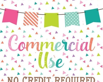 50% OFF SALE ONE Set - Commercial Use No Credit Required for Clipart & Digital Papers
