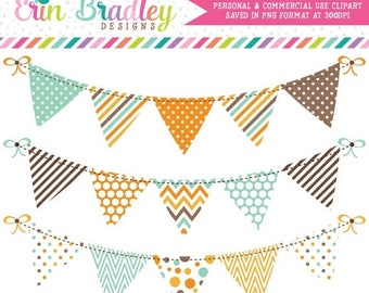 50% OFF SALE Bunting Clipart Digital Banner Flag Graphics Aqua Blue Orange Brown with Polka Dots Stripes Chevron Patterns Instant Download
