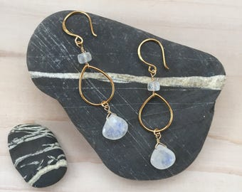 Moonstone and Gold Teardrop Earrings