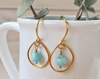 Larimar and Gold Tear Drop Earrings