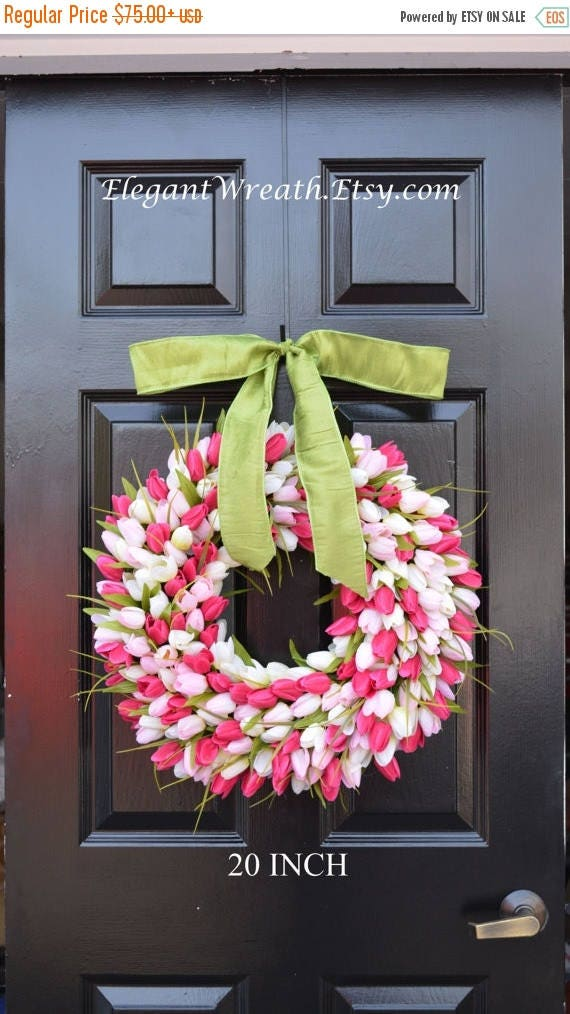 SPRING WREATH SALE Pink Tulip Spring Wreath- Door Wreath- Easter Wreath- Tulip Wreath- 20 inch shown, custom colors- The Original Tulip Wrea