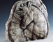 Small Embossed Pottery Horsehair Rock